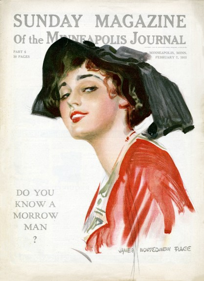 The artwork as it appeared as the cover for the February 7, 1915 Sunday Magazine of the Minneapolis Journal.
