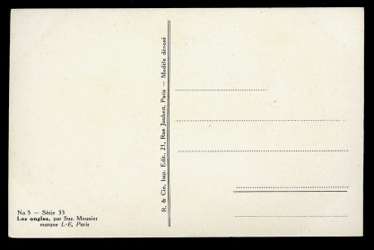 Verso of postcard with title and publication specifics