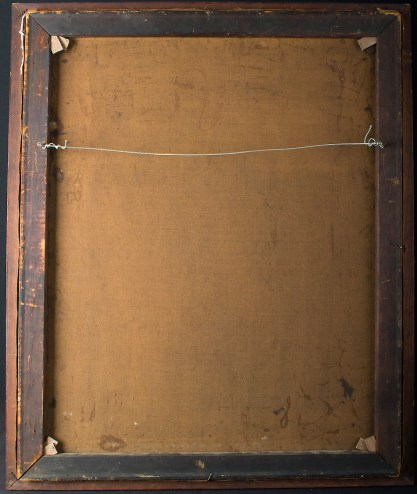 Verso view of old canvas and pine stretcher bars