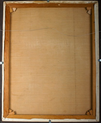 Verso view of pristine untouched back canvas and stretcher bars