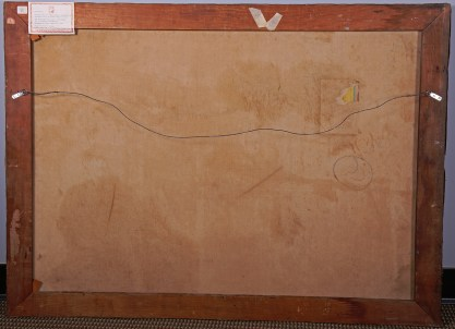 Verso view of back canvas on original pine stretcher bars