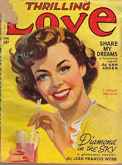 The image as the cover of Thrilling Love - June, 1950