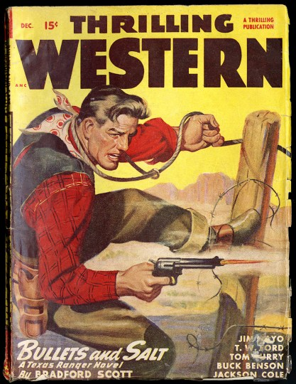 The artwork as it appeared on the cover of Thrilling Western - December, 1947 (included in sale)