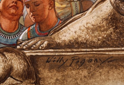 The artist's signature middle right