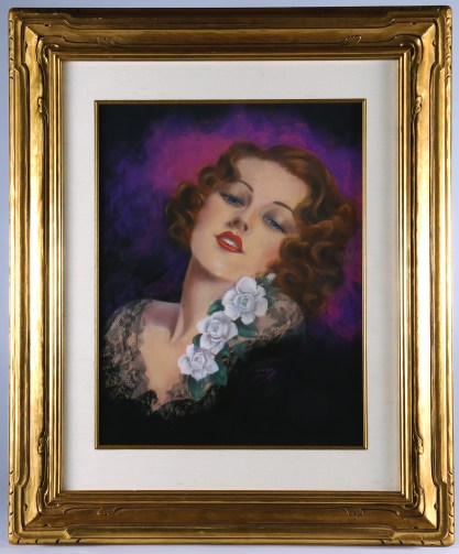 Framed and silk matted under glass -in fine period gold gilt antique art deco frame.