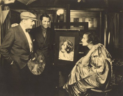 The artist Henry Clive (far left in hat), with Joan Crawford and a recently completed pastel illustration - C. 1930.
