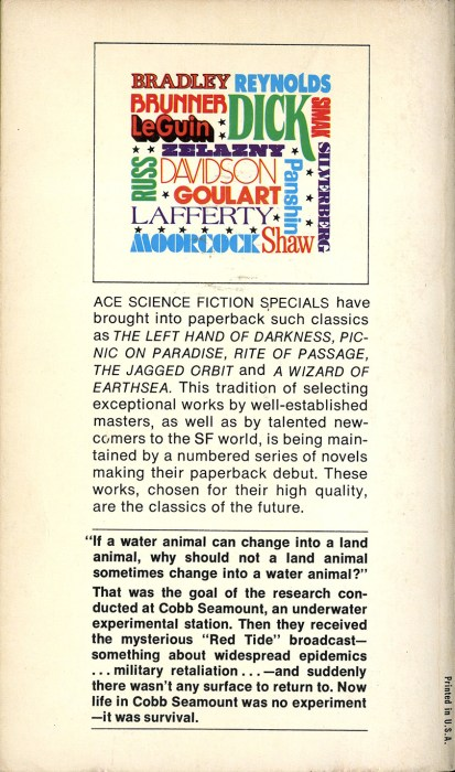 Verso of Ace paperback with text on illustration by the publishers