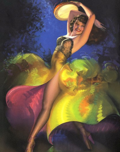 """Rippling Rhythm"" by Rolf Armstrong (Brown & Bigelow, 1940s)"