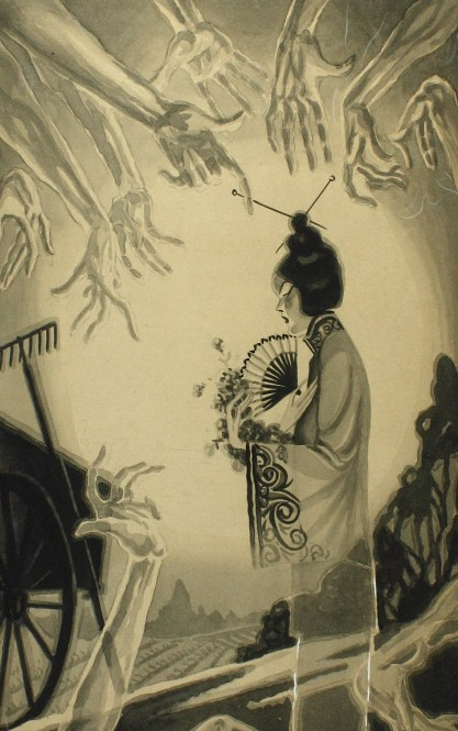 a traditionally dressed Chinese maiden surrounded by ghostly hands with pointed fingers