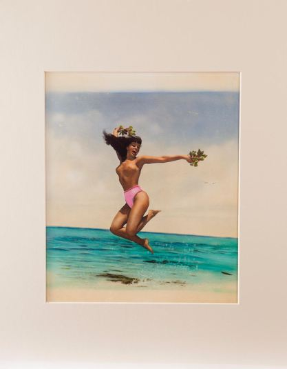 Hand Colored Bettie Page Ocean Frolic