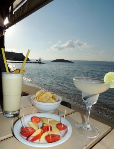 Francoise beach cafe: Pina Colada and a margarita on the beach
