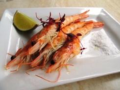 Grilled prawns with garlic oil (£7.80)