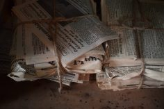 Bundled newspapers for delivery