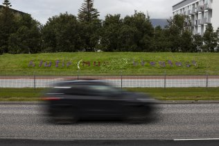 Things (Will) Change - noise barrier along Miklubraut at bike