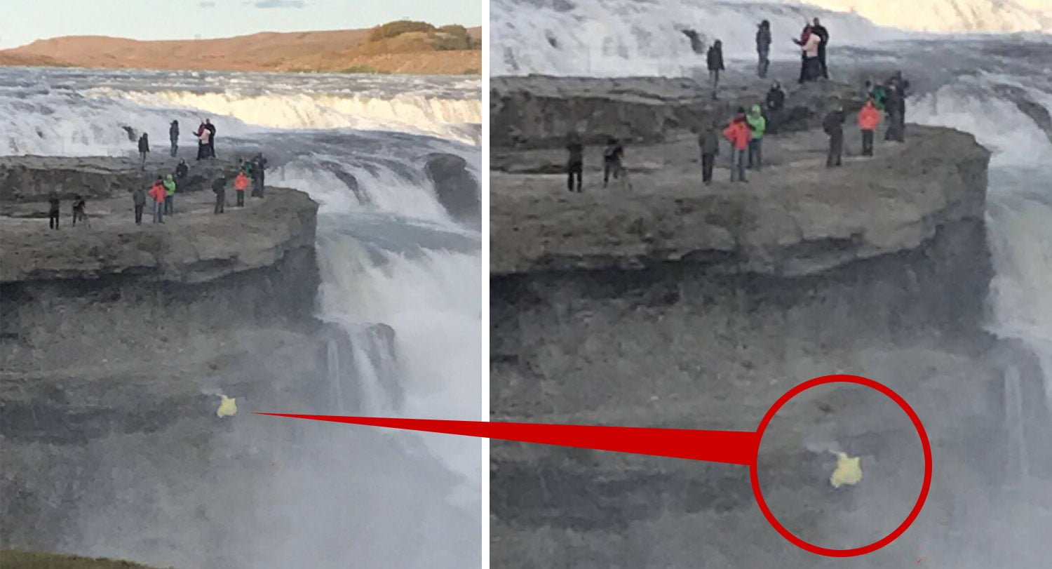 Tourist Risks Her Life For A Picture At Gullfoss