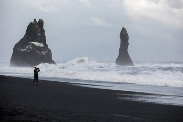 Tourists In Grave Danger During Rock Storm At Black Sand Beach