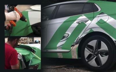 Création et pose d'un semi-covering auto mat et effet miroir – Croissance verte