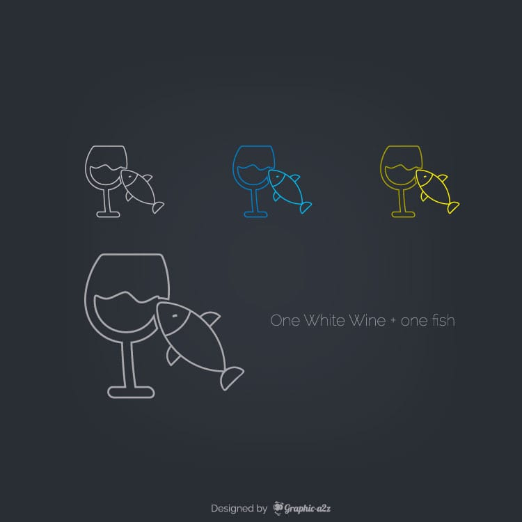 One White Wine with one fish free vector