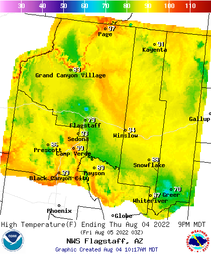 N AZ Highs. Click to go to NOAA AZ Weather Pages