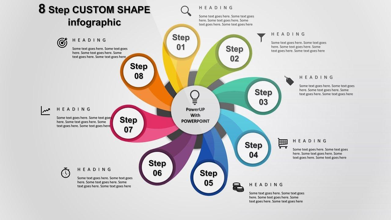 9 create 8 step custom shape infographic powerpoint presentation