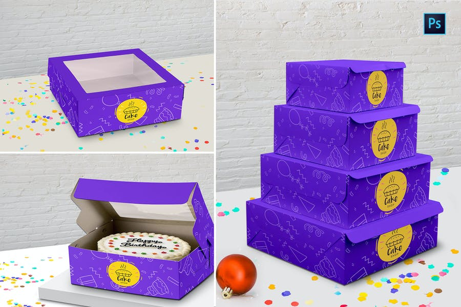 Download 11+ Best Cake Box Mockup PSD for Branding (2019) - Graphic ...
