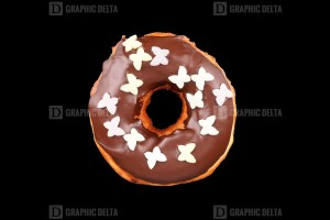 Donut on Black Background