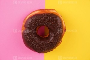 Donut on pastel color background