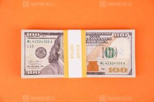 Hundred American Dollars on orange