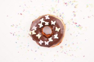 Top view of tasty chocolate donut