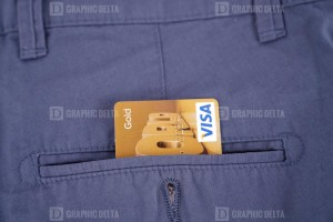 Visa credit card in pocket