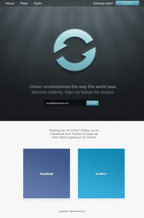 Choicr Coming Soon Page Design