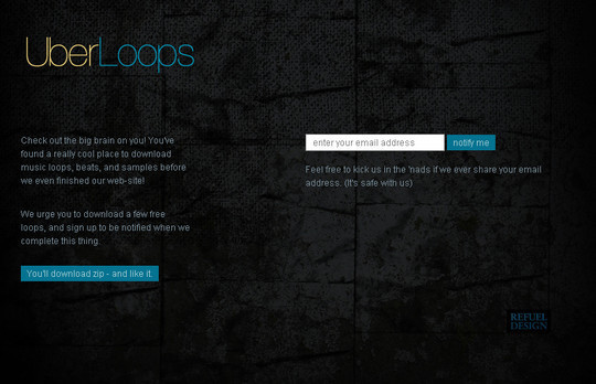UberLoops Coming Soon Page Design