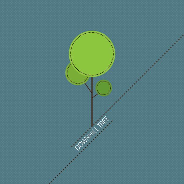 Downhill Tree Vector Graphic