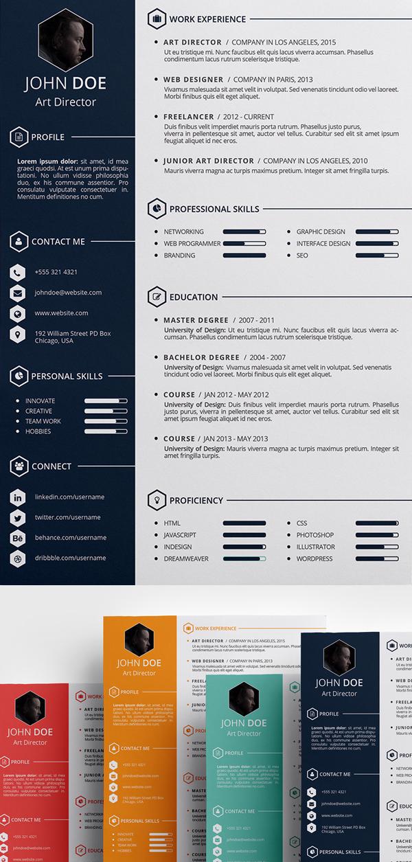 15 free elegant modern cv resume templates psd freebies