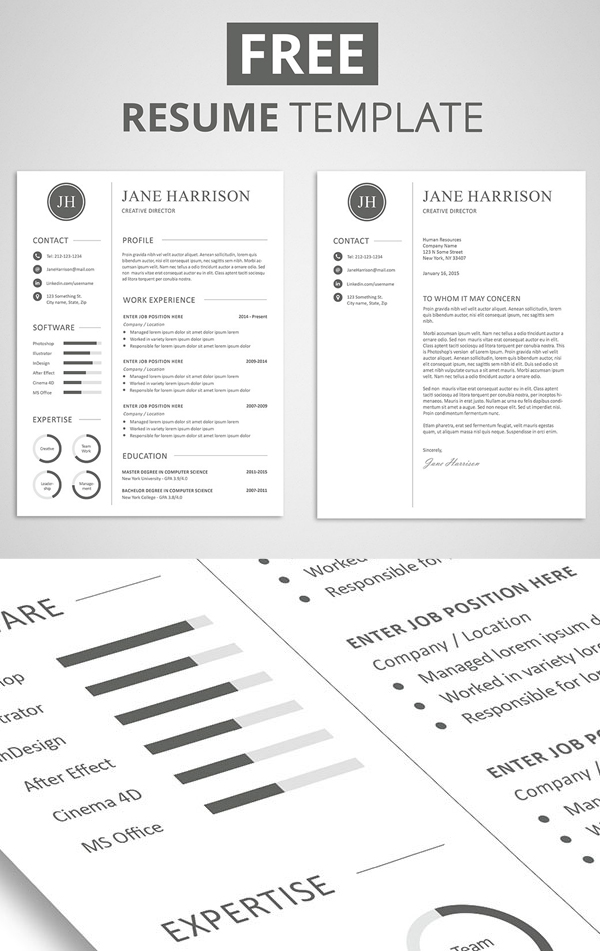 free minimalistic cv resume templates with cover letter template