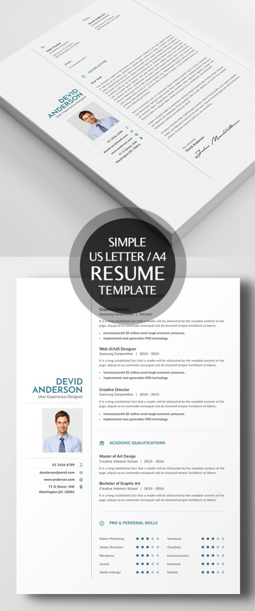 New Simple Clean Cv  Resume Templates With Cover Letter