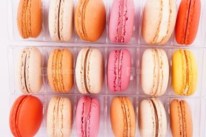Stack of fresh French macaroons photo