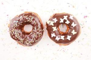 Homemade donuts isolated stock photo