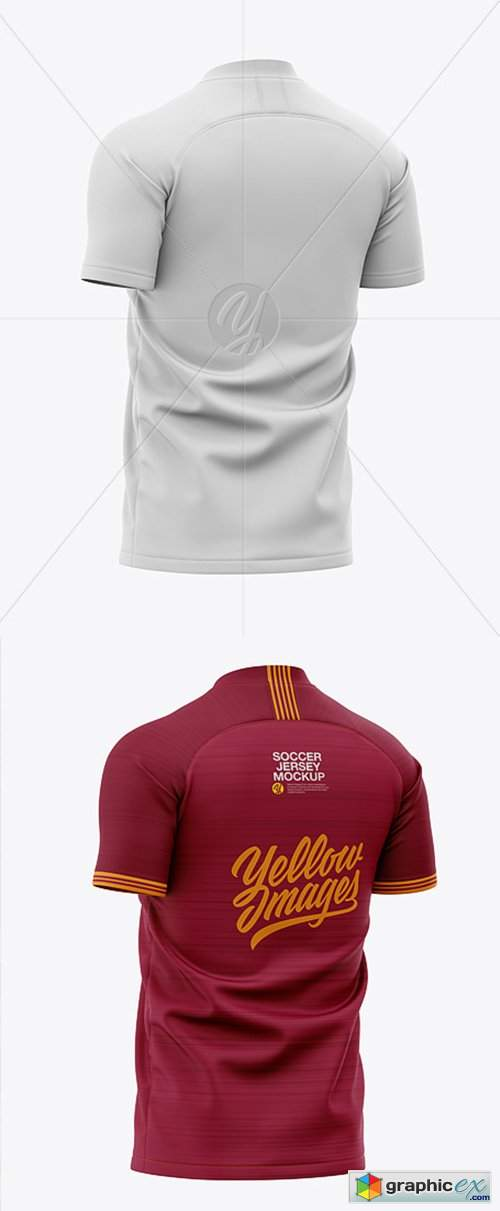 Download Men's Soccer V-Neck Jersey Mockup - Back Half-Side View ...