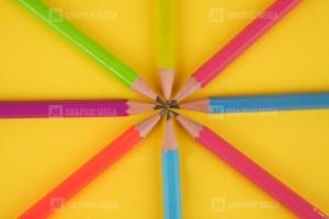 Color School Pencils on Yellow
