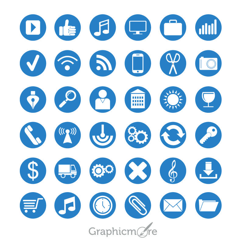 36 Flat Icons Set Design Free Vector Download By GraphicMore