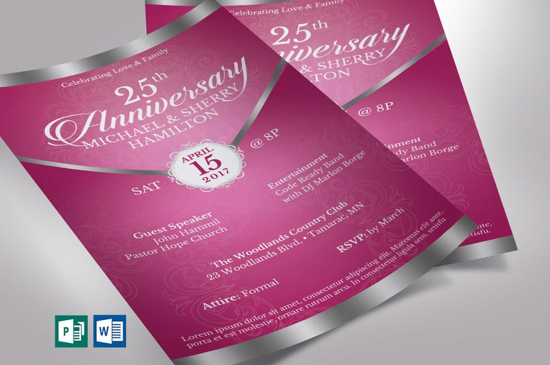 Pink Silver Anniversary Gala Flyer Publisher Word Template