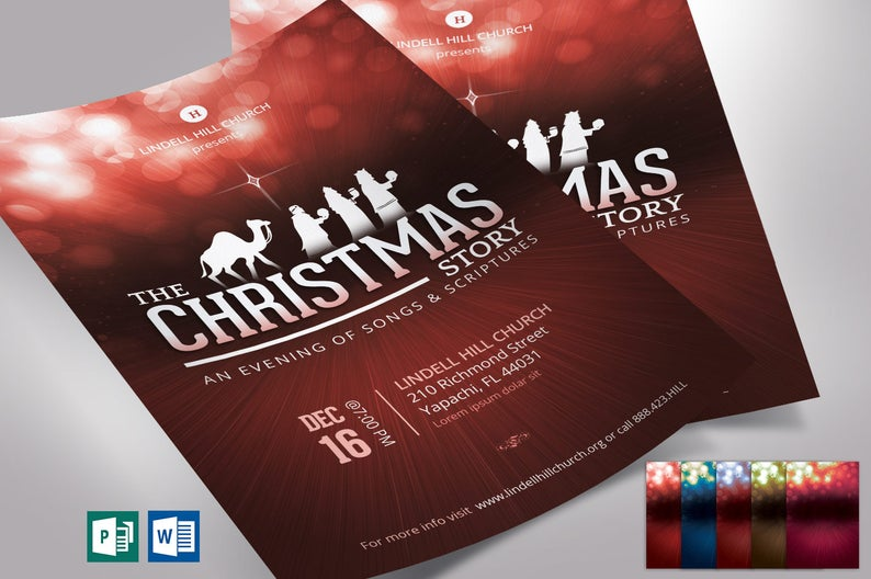 Red Christmas Story Flyer Word Publisher Template Church flyers