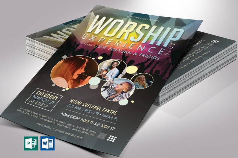 Worship Concert Flyer Word Publisher Template