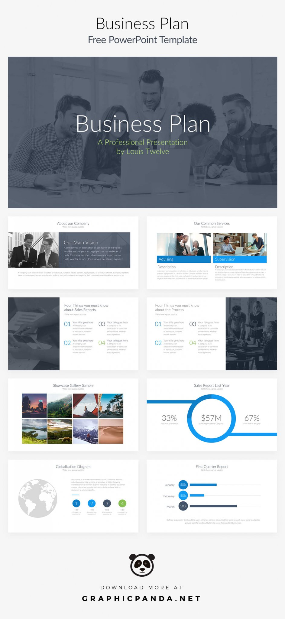 free business plan powerpoint presentation template, Modern powerpoint
