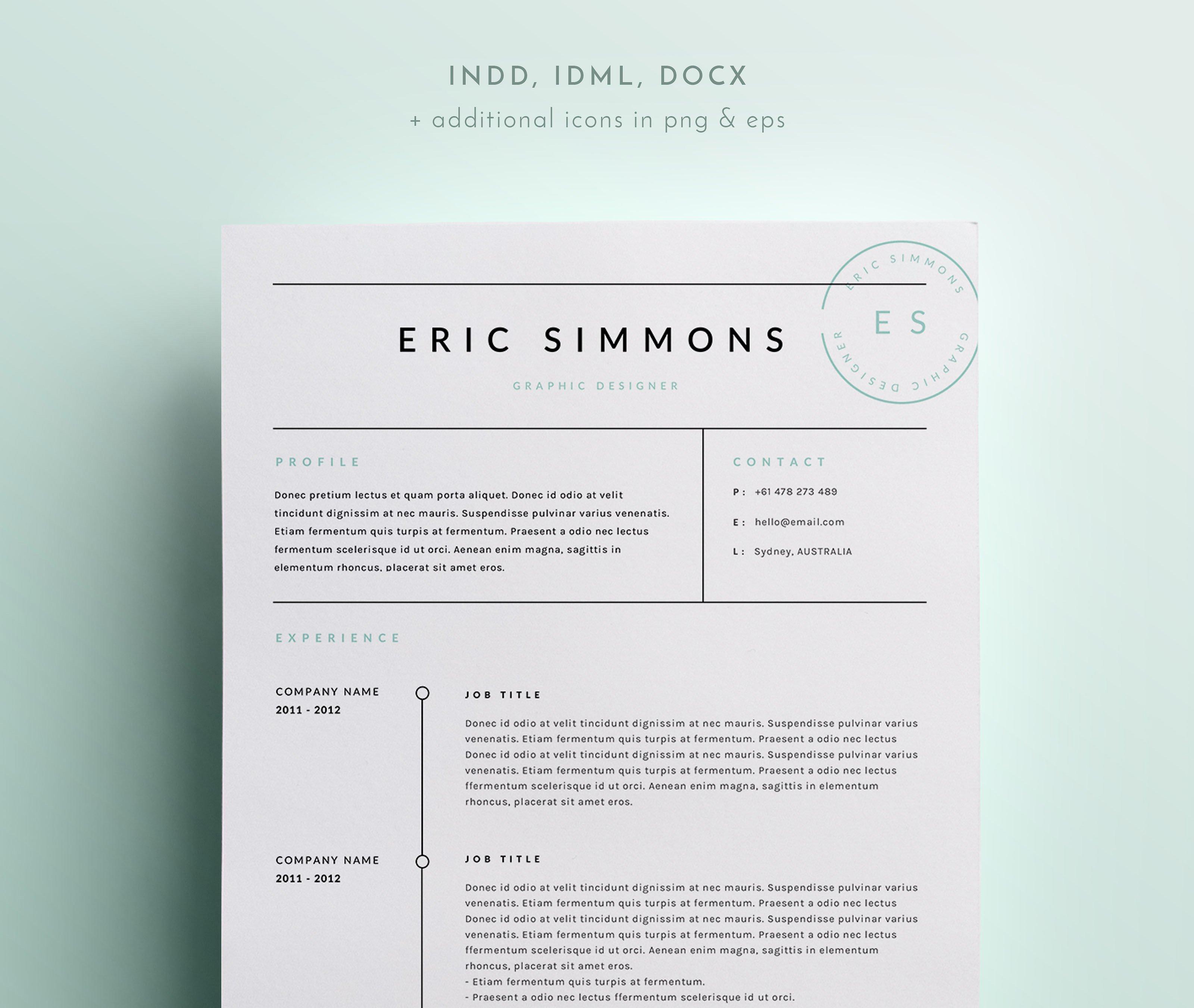 resume indesign templates