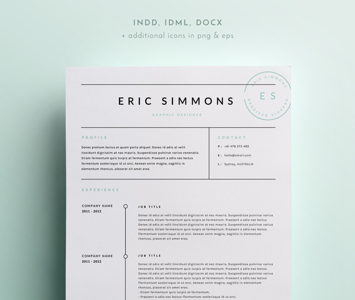 Modern Resume Template For Indesign: 20 Free And Premium Best Resume Templates