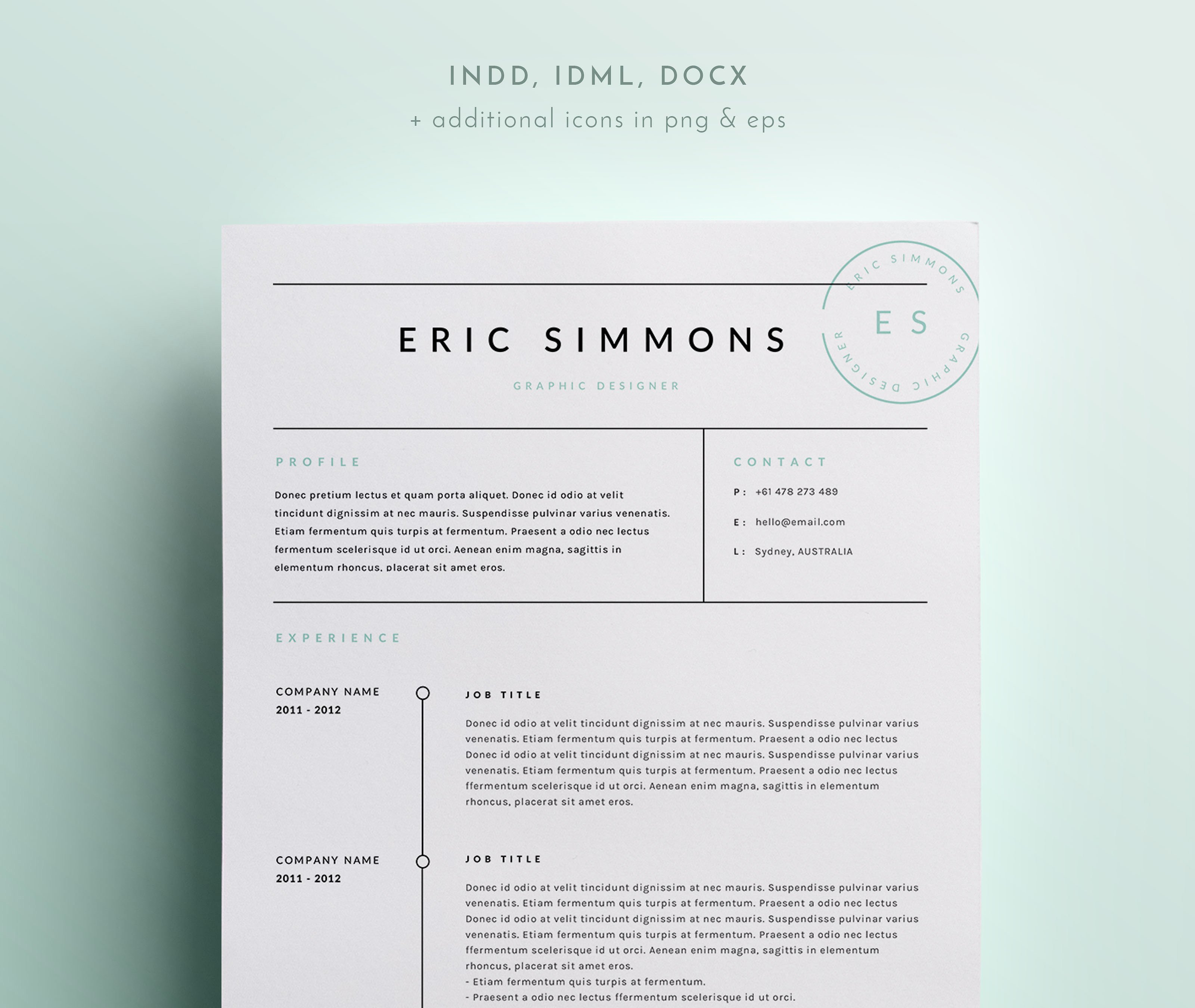 3 Page Resume Template | INDD + DOCX  3 Page Resume