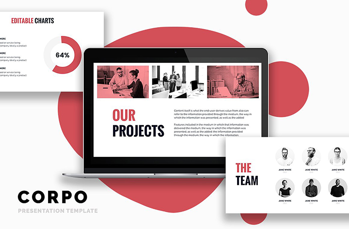 corpo business powerpoint template - pitch deck pptx, Presentation templates
