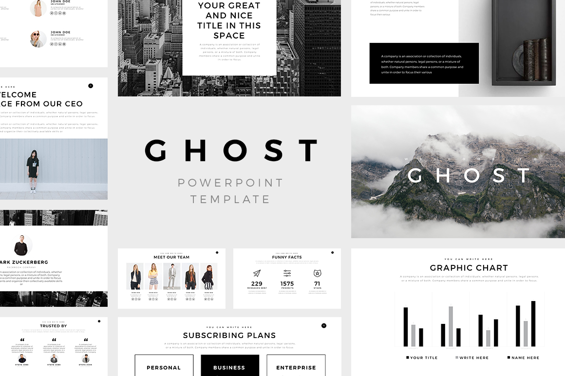 ghost minimal powerpoint template keynote and google slides theme, Presentation templates